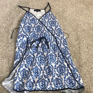 white and blue patterned dress!